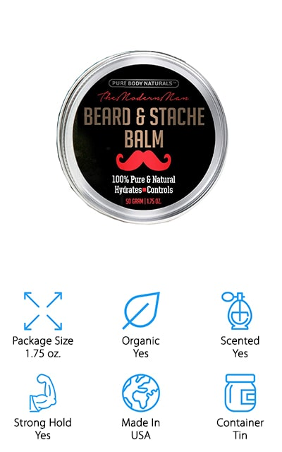 Our final pick is designed to hydrate and control your beard at the same time. It does all of this with natural ingredients and products that are actually organic as well, so you can feel great about how you use it. Great for hydrating your beard and your skin, it's lightly scented in cedar and sandalwood with light hints of the other ingredients it's made with. That means you'll get a bit of coconut and argan oil mixed with beeswax and Shea butter. If you want a smooth and soft beard you're definitely going to like the way that this product works. The fact that it's made in the United States means it's even better and it has absolutely no parabens, toxins, synthetic products or chemicals to go along with it.