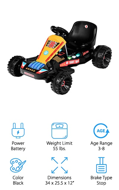 Your young one is going to feel like they're racing right down the street in their favorite games with this go kart. It's designed for children ages 3-8 and it can hold up to 55 pounds as well. The fun colors are bright and make this look just like a racing kart. It's an electric, battery-powered option that can run for up to 60 minutes on a single charge, which is definitely going to keep your little one moving and make them feel like they're really flying, even at a 2 mile per hour speed limit. The brakes are simple because your child needs to keep their foot on the pedal to drive or they can remove their foot and the kart stops immediately. That keeps them a whole lot safer and makes sure they aren't going to run into anything while they go.