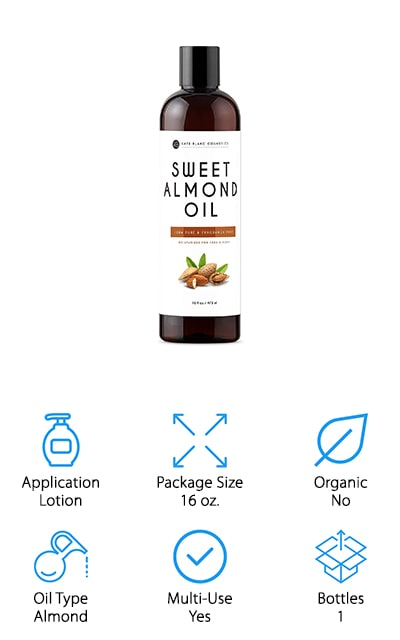 This sweet almond oil is the best carrier oil for aging skin because it not only comes in a large bottle, but it has plenty of great features and nutrients included. Made out of 100% almond oil, it has absolutely no other ingredients and no hexane either. Completely undiluted, this product is guaranteed to be authentic or you'll get a full refund. What you will get from this cold pressed oil is some great anti-inflammatory properties and even face cream and massage at the same time. This oil fits in very well with other essential oils to create just about any overall product you might want. Whether it's creating a lip balm or just putting the oil onto your skin or in your hair to help improve moisture and add hydration while keeping the grease away.