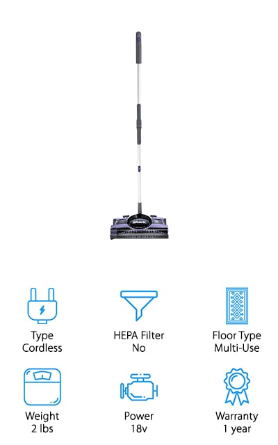 One of the best cordless sweepers on our list is this one from Shark. It weighs only two pounds and contains a motorized brush roll that will sweep up and suck in any type of debris, no matter how big or small. There are two different speeds to customize the way that you clean. It's rechargeable, and on a full charge, you can run this vacuum for a total of 55 minutes. That's quite a lot of cleaning up! It's great for low-pile carpets, area rugs, and bare floors. The cup is large enough that you won't have to be emptying it every few moments. We love that you can switch it from a hardwood setting to a carpet setting – you control how you clean! Plus, the swivel steering helps to into those tight spots and the Back-saver handle bends so that you can get under furniture as well as around it. That's pretty amazing!