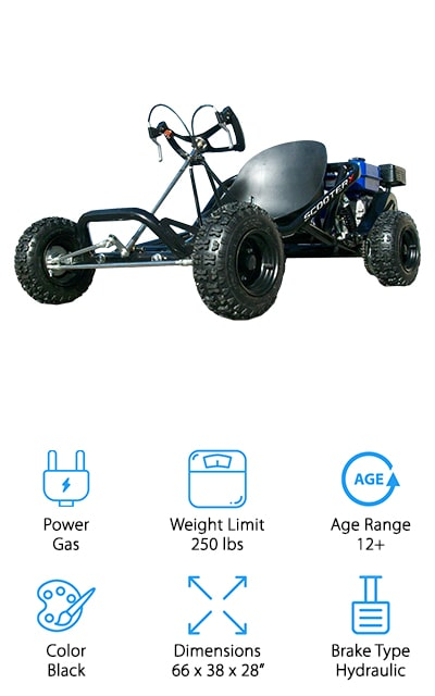 If you're looking for a basic kart that packs some serious power, this is definitely the one for you. It's an adult kart for sure, with a powerful 196cc motor with 6.5 horsepower. The tubular steel frame is pretty basic, but it more than makes up for this with power and function. It comes with 13-inch off-road tires and rear coil suspension so that you can really get going on those hills and valleys. It also comes with a hand brake and a throttle, so you can stop and control your speed when you need to. The butterfly steering wheel gives you better control over where the cart goes, and you're going to need it – because this kart can reach speeds of about 45 miles per hour! That's one of the fastest karts on our list! Plus, it holds up to 250 pounds so it's perfect for adult racing. It even has a centrifugal clutch. It's a serious kart!