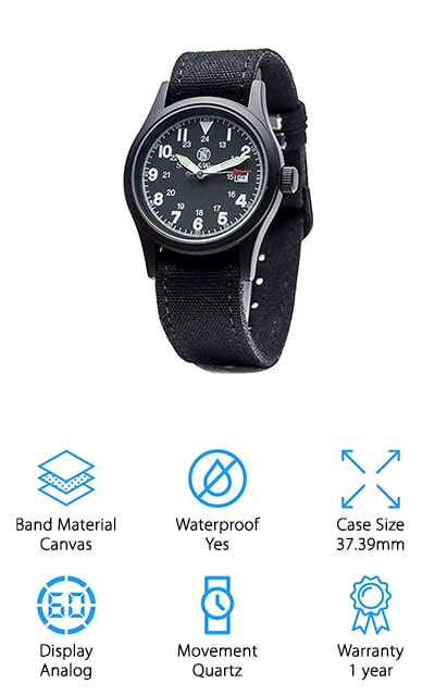 This affordable automatic field watch is a high-quality Smith & Wesson model. It's entirely black, from the canvas band to the face and case, with white indices, hands, and numbers. Around the center, it has the time in 24hour format, as well as a 60-second ticked outer track. At 3-o'clock is the standard date window, which is another useful feature. You don't have to keep the black band if you think another color will suit you better, because this watch comes with three interchangeable bands and buckles. We love that it's so customizable to your personal style! The case is 37.39mm in diameter, which is a non-standard size that's actually on the smaller side. If that's what you're looking for, this watch is perfect for you! This watch is sleek and masculine, while still looking stylish and perfect for all of your outdoor adventures and field missions. We love all of the features and the simplicity equally!