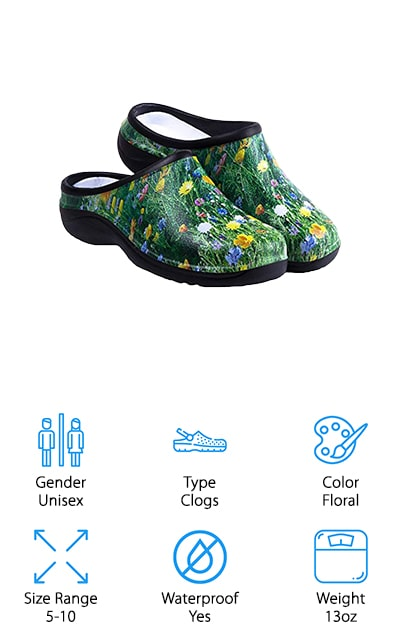 These great garden clogs by Backdoorshoes are in a fun floral pattern, which makes them appropriate for gardening work! They are made of EVA foam, so they absorb shock and are extremely durable. They are lightweight, coming in at 13 ounces per shoe on average. Because they aren't made of rubber, they won't make your feet sweaty and uncomfortable when you wear them. They also won't split over time as rubber does. They are 100% waterproof and they dry super quick, so you'll never have to worry about having wet shoes the next time you have to go out to get the mail or water the plants. They even come with a carrying bag! Before you order, make sure to check the sizing chart so that you can get an accurate fit that will be comfortable for you! They have arch support as well, so say goodbye to foot fatigue! These are amazing premium garden shoes for men and women!