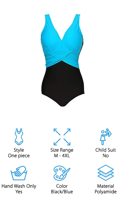 This V-neck color-block suit is stylish and great for anyone to wear, especially moms! There are four different color options, including this light blue top with black bottom, a red and black version, a pink and black version, and a style with a royal blue instead. It's great for going to the pool and to the beach, and you're going to look incredibly stylish in it and feel comfortable as well! The top has the illusion of wrapping around you, which is a great support and aesthetic choice that's going to make this suit look great on you. The straps are comfortable and adjustable, and the pads in the top portion can be removed and replaced as well. The U-cut back gives you just the right amount of skin showing! The sizing chart will help you choose the best suit for you, and the sizes run pretty true to the measurements they offer. That's pretty neat!