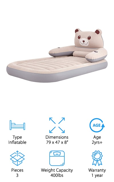 The HOMCA Twin-Sized Travel bed is large enough to be used for multiple children over the age of two. It's an adult-sized twin mattress with a fun detachable headrest in the shape of a bear. The headrest has two cup holders, which is great for kids, and the cover is soft and flocked. It comes with the headrest and a pump to inflate it, a process which should take two minutes with the electric pump. The flocking on the top of the mattress makes it so that the bed doesn't make a lot of noise when you're using it, which is great when you're using it for two children. The top is puncture-resistant and waterproof to help keep it dry and clean for a good night's sleep! The pump that it comes with can be used to deflate the bed as well to make packing up in the morning quick and easy. The backrest is a nice perk!