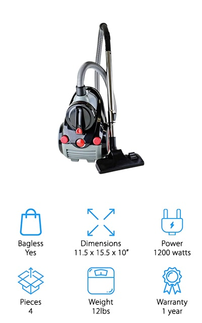 Ovente Canister Cyclonic Vacuum