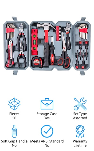 This 50-piece set by Hi-Spec contains a lot of nifty hand tools for all of your home and yard repair jobs. It's a great start to a tool collection and will give you just about everything that you need to get minor jobs done. It comes in a nice carrying case that contains all of the tools in their own respective places, to keep them organized, clean, and ready to use. It folds down small enough to store easily and out of the way. It comes with a hammer, bit driver and 20 screwdriver bits, hex wrenches, four precision screwdrivers like the types used for eyeglass screws, as well as a level, tape measure, scissors, wrench, pliers, and utility knife for trimming, stripping, or cutting wire. The scissors are stainless steel and great for emergency fabric situations. There is no job too big or small for these tools – they're a great supplement to the collection you already have!