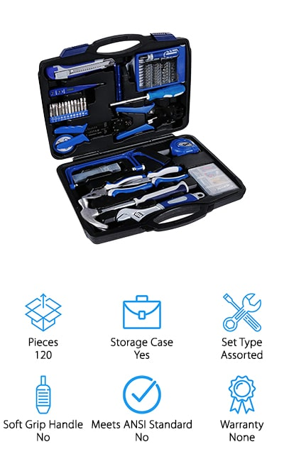 If you're looking for a set of household tools that lean a little more towards precision and electrical work, this is the set for you. Of course, there are plenty of tools in this kit that can be used for general repairs, but out of the 120 pieces, there are quite a few you'll need for computer and fine electrical jobs as well. It includes a spanner, wire-stripping piers, a saw, a digital display tester, a tape measure, wire pliers, insulating tape, and the crown jewel: a 33-in-1 precision screwdriver headset. This includes a small bit driver and 32 different bits for small, delicate work. For the office, this set simply can't be beaten. It all comes in a molded case so that everything has its place, and all of the pieces are easy to use and find. We love the variety of tools here, compared to some other sets. It also contains a small parts box!