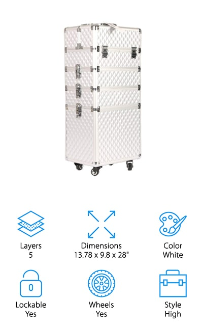 For a good-looking makeup train case with makeup storage galore, check out the Gootrades Makeup Train Case. One of the first things you'll notice about it is the bright white color and diamond texture finish. But that's not all this case has to offer, there's also a durable aluminum frame, reinforced corners, and heavy-duty PVC surfaces. The 4-wheels turn 360 degrees for easy travel and each level has its own lock and key. There are 4 components to this case, including a small top layer that can be used independently as a more compact makeup case. You can use these components in any combination that suits your needs. Multiple trays let you see everything easily and the large bottom section has elastic loops to secure large items like hair dryers, water bottles, and styling tools.