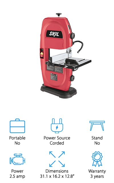 If you're looking for a benchtop option, the best hobby bandsaw around is the SKIL 3386-01. It comes with a ribbed aluminum table that tilts from 0 to 45 degrees and includes a blade guide adjustment so you can set the depth to suit your material. An attached flexible LED lamp helps increase visibility and a 1 ½-inch dust port keeps the work area free of debris. This is a great choice for woodworking. It excels at cutting irregular shapes and can make angle and height changes quickly thanks to the rack and pinion table adjustment. There's also a rip fence and miter gauge so making straight or cross-cuts is easy, too. The max cutting capacity is 3 ½-inches and it includes a 3-year warranty.