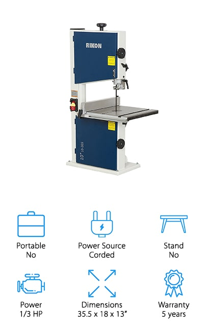Our next pick is the Rikon 10-305 Bandsaw. It's the perfect choice for anyone who wants a band saw in their workshop but doesn't have a lot of room to spare. This benchtop model gives you all the features you'd find on a full-sized option. The solid steel design is compact and tough. It has a work table that's larger than most comparable sized saws and a high-quality rip fence that can be easily removed for free-hand work. The micro-adjustable guidepost raises and lowers with the turn of a handle and edge facing thrust bearing help keep things moving smoothly. That's not all, it also has a safety paddle switch as well as a 2 ½-inch dust port to help you stay safe and keep your workshop clean.