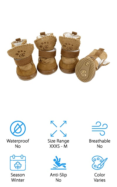 Next up are these awesome shoes from URBEST. They're made of soft fleece and faux leather with a rubber sole that's perfect for letting your pup play in the snow or for taking a quick walk on a snowy day. These boots were designed to keep your pet's feet warm on cold winter days but they'd work well in late fall and early spring but are a little too warm for summer. They're fully lined with sherpa and, although they're made of fabric, they have the look of brushed suede. The pull tab, large split seam, and wrap-around Velcro closure are easy to get on your pup. That's not all, they're available in sizes XXXS to M and even come in 3 different colors so you can pick the one that matches your pup's personality. Choose from tan, red, or pink.