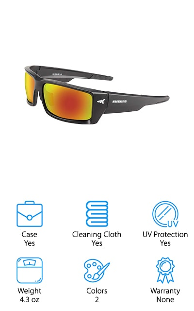 Last but not least in our list the best polarised sunglasses for fishing are the KastKing Jetly Sport Sunglasses. They feature an unbreakable, bendable, lightweight TR90 frame with wide side arms that help prevent any light from sneaking in around the side. Polarized protection cuts glare and blocks UV rays as well as high-energy visible light that makes colors truer and your view just better all around. They're made of am impact-resistant material called TAC which is a lightweight polymer designed to help make these glasses even more comfortable, especially when wearing them for long periods of time. For even more comfort, the soft nose and ear pads are made of hypoallergenic rubber that eliminates irritation and reducing chafing. These glasses include a case, cleaning cloth, and strap and are available in 3 different colors.