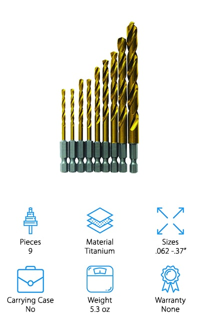 Next up in our list are the best metal drill bits if you're just looking for something pretty simple. This set from Bosch includes 9 different bits in some of the most popular and most widely used sizes. They're designed using Bosch's Impact Tough design. What does that mean? Get this: they're ¼-inch screwdriver bits that are designed to work better and last longer than the bits commonly used with a standard impact drill. With no-skate tips for quick and accurate starts, they're tough enough for hardwood, heavy and light-gauge metals, and even high-carbon steel. To help with material removal, these bits have a long flute which provides better clearance. Plus, they have a titanium cooling shield that creates less friction and helps to extend the life of each bit.