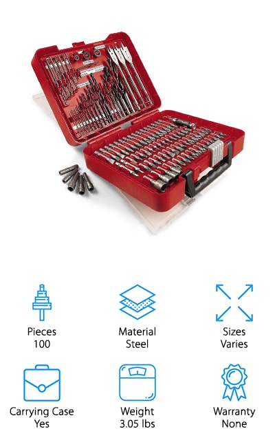 Last but certainly not least are these high-quality metal drill bits from Craftsman. This is a pretty impressive kit that includes 100 different pieces in all. It has just about every bit you could need for household and DIY projects, including driving bits, power bits, insert bits, and, of course, drill bits. You might be thinking that this is a little more than what you need but just about every common bit is included in this kit. That's not all, they even come perfectly organized in a handy carrying case so it's really easy to find just the bit you're looking for. These bits are made of hardened alloy steel for long-lasting durability. That's not all, they're even tough enough to drill through metal as well as wood, plastic, and masonry.