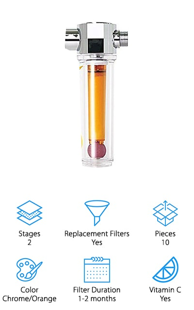 This Vita-fresh filter from UBS comes with a Vitamin C Shower Filter and many different replacements for it. It will need to be changed out every month, and this filter's got you covered! After it sends your water through their comprehensive 2-stage process to remove chlorine and other chemicals, your water passes through a Vitamin C block that helps to give your water that extra healthful kick. Vitamin C also helps to remove the last traces of chlorine. That's pretty amazing! It also neutralizes similarly unhealthy chemicals such a chloramine. You won't inhale all of those nasty chemicals while you're showering, and your hair and skin will thank you! The Vitamin C that UBS uses in their Vita-fresh shower is completely pharmaceutical food grade, so you know that it's going to be great for you! Help your hair and skin become soft again with the help of these amazing showers filters. You're going to love it!