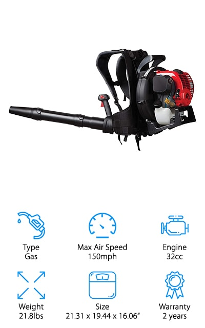 Troy-Bilt makes this comfortable, easy-to-use blower that runs on gasoline. It's one of the best leaf blowers – backpack included – for its power and weight. The max airspeed is about 150 mph, which is amazing and will be able to clear piles of leaves, no matter whether they are wet or dry. The suspension system on the backpack will make it comfortable to carry as well, because it will distribute the weight of the blower, 22 pounds, evenly between your shoulders and the hip belt. That makes it great for long periods of use. The tube flexes and moves easily so that you can get around things and get the job done in the most efficient way. It's compact and great for people with aches and pains – you don't have to worry about blowing off your lawn or sidewalks anymore! This backpack was made just for you! Plus, you don't have to mix fuels to power the engine.