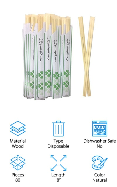 These chopsticks by Happy Sales is great for restaurants or other party situations when you don't want a lot of clean-up. There are 40 pairs of disposable wooden chopsticks, each set in their own sanitary sleeves. If you regularly have sushi for dinner or you're having people over for Chinese, this is the perfect set to get. The sticks are joined together, so you also get the experience of taking them apart like you would at a Chinese or Japanese restaurant. In fact, these chopsticks will work for any Asian foods that you can think of. It'll save you clean-up after a party, and the sanitary sleeve keeps them perfect until your guests are ready to use them. They are about 8-inches long, so not so long that beginners can't use them. They also have rounded tips to make it slightly easier to grab larger food items. These chopsticks are great for people just starting out or seasoned pros!