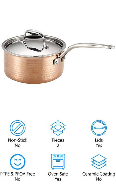 This copper pot by Lagostina Martellata has an aluminum core that helps to radiate and distribute heat better than a core of copper would. The outer layer is made of copper so that the heat stays right where you want it – in the pot! The interior is stainless steel so it won't rust, and because of all of the heat retention along the outside of the pot, the handles stay cool and stable. It's a 2-quart pot, great for sauces and small soup portions, and the stainless steel interior makes it great for use with metal utensils. It's safe to put into the dishwasher when you're done cooking with it, and you can use it in the oven up to 500 degrees without any damage! We think that's pretty impressive for a copper pot. If you often make Italian-inspired cuisine, why not go with an Italian-inspired pot? They've put a lot of thought into the design as well!