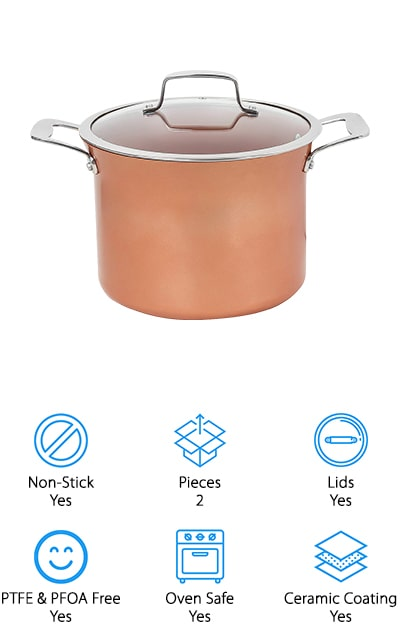 This stock pot by CONCORD is 8.5 quarts, which is big enough to make large portions of soup and other foods. The pot has a ceramic coating that allows it to be non-stick as well as resistant to scratches and chips. It's 6.8 inches deep, as well as 9.5 inches in diameter at the opening. Speaking of the opening, there's a rim around the pot that makes it easy to pour your broth out of it, as well as polished stainless steel handles – just make sure you use potholders while moving it! It's free of all PTFE and PFOA, so you won't have to worry about that while you're cooking. And you can cook in the oven and stove top without damaging the copper. One of the unique features of this pot is that it works even on induction stovetops, a challenge for some types of copper cookware. This stock pot will be a great tool for larger portions!