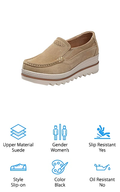 These women's platform loafers are the perfect shoes for any of your casual or work tops. They'll look great with slacks or a pantsuit, or whatever else you need to wear to work. They have a 1.18-inch platform with a lightweight sole. The bottom of the shoe has ridges for traction, and to make sure that you stay standing on your feet. At the back heel, the wedge is approximately 2.28 inches, so you're going to stand tall. It's great for a variety of activities, but most notably as a work shoe. The leather lining on the inside helps to absorb sweat and deodorize your feet at the same time it's providing amazing comfort. The outside upper is made of suede. These flexible shoes are wider, made with a rounded toe, and even have an elastic band to keep them comfortable. There's a size chart so you're sure to get your perfect platform fit before you order!
