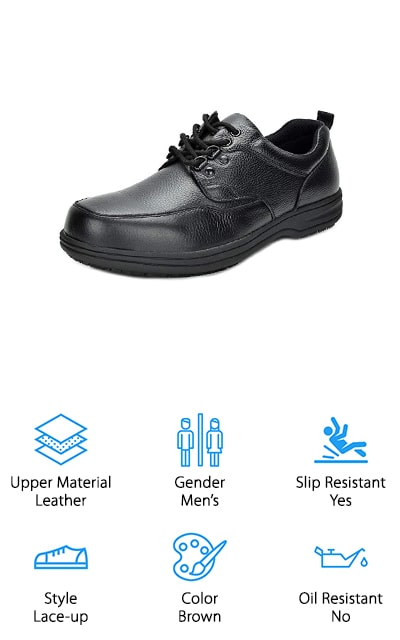 These lace-up shoes look like classic Oxfords! They have a genuine leather upper that is stain resistant and helps keep your feet warm if your workplace is usually warm. The man-made footbed has extra cushioning and comfort to keep your feet feeling great. The toes are rounded, and the outside sole is slip-resistant and non-skid for the greatest ease in your movements. It comes in either black or in dark brown, and for both varieties, it has a padded collar and a latex footbed to keep you comfortable and to absorb shocks. They're some of the best shoes for walking and standing all day because of the craftsmanship that DreamPairs has put into making them comfortable and leaving your feet feeling great at the end of a long day. These men's shoes are stylish and will get the job done – you'll stay on your feet with ease, and without foot cramps when you get home.