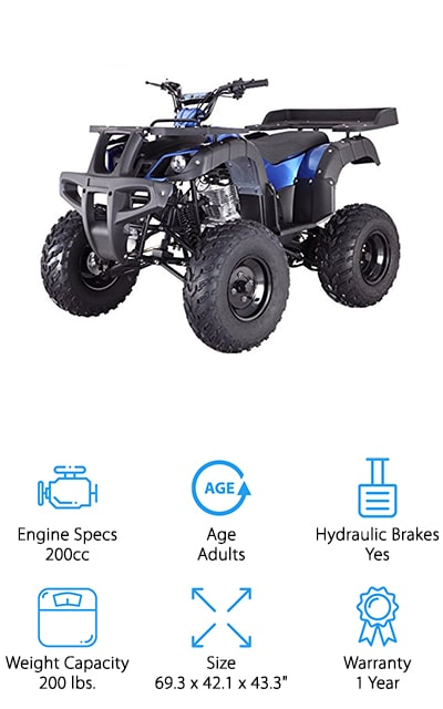 Last up in our search for the best gas utility ATVs for sale is from the popular ATV brand TaoTao. This ATV is purely for the adults in the family, with a 200cc engine that can reach speeds up to 55 mph! The electric ignition is much easier to start than a traditional kick-starter, making it easier to get running in a hurry. The 4-speed manual engine gives you control over the ride, and it works in reverse to get you out of tough spots! We like that the steel frame and large wheels give this ATV all the sturdiness it needs to handle even the toughest terrain. To carry extra equipment, it comes with large front and back racks that hold a lot! This is a great ATV for adults looking for a vehicle to last for years to come. It also comes in either blue or camouflage, so you can blend in or stand out in your surroundings!
