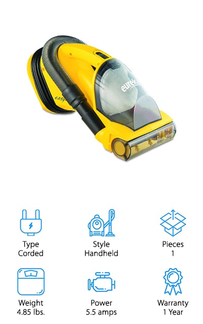 If you're looking for the best vacuum for car interior cleaning that you could also use around the house, consider grabbing this multi-purpose handheld from Eureka! We like this one for both house and car cleaning because it has a rotating brush head – just like your vacuum at home. It's powerful motor and bristles suck up dirt, dust, and debris quickly from car upholstery and floors. The hose detaches, allowing you to use the crevice tool for tight spaces, and then reattach it to move on to other messes. We like that it's easy to empty and keep clean, thanks to a plastic bin that's washable and easy to use. Another reason we like this vacuum is that you can easily use it at home to vacuum stairs, furniture upholstery, and small messes! No need to buy separate handhelds for home and car – this one handles it all! This will save you precious money and space in your home, too!