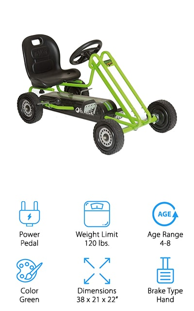 When looking for cheap, fast go karts that wouldn't break the bank, we found that pedal-powered go-karts like this one from Hauck were a great budget option! This go-kart is great for kids ages 4-8, and it looks just like the go-karts they see grown-ups riding around! We like the simple design, no batteries or gas needed, and that it comes in neon green or pink so your child can pick their favorite color to drive! The padded bucket seat keeps your child securely in their seat without the need for a seatbelt, and the steel frame is sturdy and prevents tipping. We like that the steering is easy and accurate, and the 8-ball style handbrake works quickly to stop your child's go-kart quickly. The tires are made of durable rubber, so they can ride this on pavement, grass, and even take it indoors to the basement or garage on a rainy day!