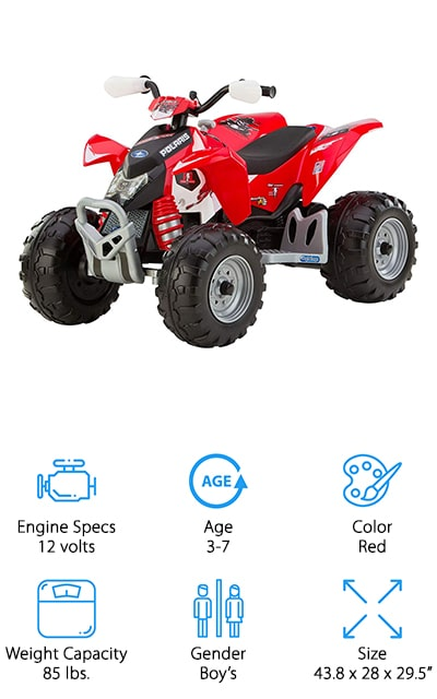 This electric ATV is a great 4 wheeler for 5-year-olds who want to ride around the yard! We like that this ATV is great for little kids to ride without worrying they'll go too fast. It has 2-speed settings: low is 2.25 mph and high is 4.5 mph. There is a second gear lockout, so you can keep them from going any faster than you want! It also goes in reverse to teach them how to park their ATV, or get them out of sticky situations! We also like the look of this ATV – the plastic body looks just like the ATVs their parents are riding, with a bright red or pink paint job, flashy decals, realistic looking suspension, and rugged wheels. Your child will love riding around on grass, gravel, pavement, and more! It runs on a 12-volt rechargeable battery that only takes 2 hours to fully recharge, so they can get back to riding quickly!