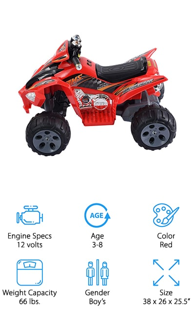 Last up in our youth ATV reviews is this battery powered mini 4 wheeler from Giantex that is perfect for giving your little ones a taste of speed – but not too much! This ATV is made for kids aged 3-8 and is perfectly safe for them to ride around the yard or in the driveway. It runs between 3-5 km/h, which is fast enough to keep your child happy, but slow enough that you could catch up to them if you need to! It also goes in reverse, so your child can get themselves out of tough spots in a jiffy! We also like that it has working LED headlights to help them see in dark places, like when they're backing out of the garage. Oh, and it also plays music and has a horn! The look of this ATV is super cool, with a bright red body and fun decals that make it look just like a professional roadster!