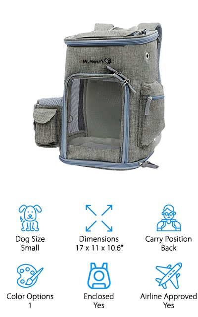 To take your little buddy on a plane, get a dog carrier that's the proper size – and this one from Mr. Peanut's is airline approved! We like that this dog backpack can be used as a standing backpack, or lay it on its side to fit underneath your airplane seat during the flight! There are 3 different openings (top, bottom, and front) for you get your dog in or out, and there's plenty of mesh for them to see what's going on and get fresh air. There is a hand-washable pad inside for cozy napping, and a leash ring to ensure your dog doesn't run out when you open it to give them water, snacks, or take them out for a poo break! There is also plenty of storage for waste bags, water bottle, snacks, and more! If you want a bag that will get you and your dog through a flight safe and stress-free, pick one of these carriers!