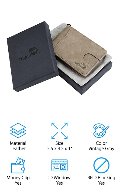 The NapaWalli Bifold Slim Wallet is the last wallet on our list, but that doesn't mean it lacks the features you need! Made from genuine leather, you have the durability and style of a traditional wallet, but you also have extra features, too. This wallet offers you RFID blocking, an ID window for easy ID access, and a money clip. You'll also have pull-strap access to your cards to make it easier for you to remove the cards you use on a regular basis. The front pocket is another great feature that allows you to stow away your most used card in the most convenient place. With a 1 year warranty, you won't ever have to be without a wallet if you receive one that's defected upon arrival. NapaWalli's no bulk, minimalist design you have all the storage you need at an affordable price. For a wallet that meets your everyday needs, look no further than the NapaWalli Bifold Slim Wallet!