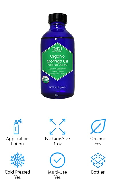Zongle's Organic Moringa Oil is ethically produced from start to finish to provide benefits to both customer, company, and worker. Every ingredient is USDA certified organic, giving you peace of mind when it comes to knowing exactly where your oil came from. Every ingredient included is produced naturally without pesticides, fertilizer, irradiation, or genetic engineering. Zongle's moringa oil comes from cold pressing moringa seeds to extract the most antioxidants as possible. Zongle made sure that each bottle of oil remains unrefined to give you the best benefits every time. Not one single part of the formula was synthetically made so you can have the best results possible. This formula was designed for internal and topical uses including cooking, lotions, serums, skin care, and more. Customers love this oil for homemade shampoos and conditioners, too. For an organic moringa oil that helps maintain balance in your hair and skin, look no further than Zongle Organic Moringa Oil.