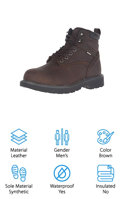The Wolverine Harrison Safety Boot is considered to be some of the most handsome and rugged steel toe boots. With oiled materials, this boot is considered to be much lighter than your standard steel toe shoe. The ASTM compliant steel toe is also non-conducive in case you come across electrical hazards at the work site. Inside you'll find a removable cushioned footbed that can be cleaned after long days at work. The breathable internal linings allow your feet to breathe while fighting sweat. Wolverine boots were originally created to withstand the toughest environments and their brand still holds true for their Harrison Safety Boot. With patented shock absorbing technology, you'll be able to withstand common trips, falls, and accidents on the job. For the best-rated steel toe work boots, Wolverine never lets you down. Check out the Harrison Safety Boot for comfortable, lightweight steel toe boots for a great value price!