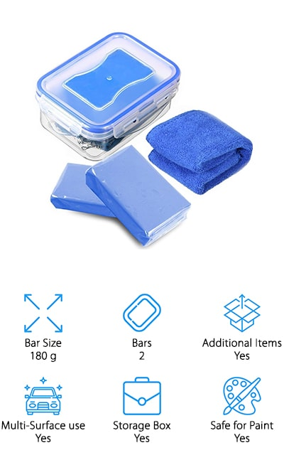 The MATCC Car Clay Bar is a lot like the Senrokes Car Detailing Clay. This bundle only comes with 2 clay bars but at a bigger bar size of 180 grams. You'll also receive a storage box and a cleaning towel to get you ready to clean as soon as possible. These bars are made of superfine fiber, sticky solid gelatin, and small stoma to give you a super flexible clay that cleanses the hard to remove stains. These bars can be molded and kneaded into almost any shape to clean in crevices and hard to reach places on your vehicle. You can easily remove overspray, iron powder, oxide layer, rust, stains, and hard water deposits. Used clay bars should be stored in water after each use to avoid drying them out. For multi-surface, multi-contaminant cleaning, the only thing you'll need is a MATCC Car Clay Bar. Grab yourself a few clay bars and get ready for the cleanest car you've ever seen!