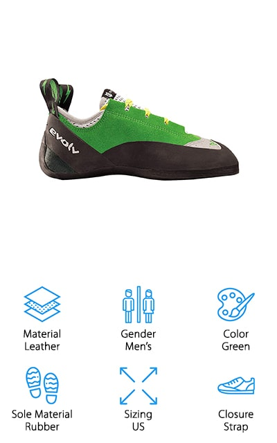 Evolv's Spark Climbing Shoe is built to last with high-quality leather and 3D Air Mesh to give your feet room to breathe. With Enhanced Arch Support, you'll feel comfort in the middle of your foot as you climb. With a semi-symmetrical profile, you'll be able to enjoy the benefits of a near neutral shoe that gives in all the right places. Like other Evolv climbing shoes, you'll find 4.2mm TRAX rubber in the soles that allow you to stay upright and on the wall without fear of slipping or falling. The rand is made of VTR Rand which gives you extra thickness in the toe, too. This shoe is available in sizes 5 to 13 in Men's US sizes, so be sure to check the sizing chart before you purchase a pair. For men who sweat in the climbing gym, the Evolv Spark Climbing Shoe will ignite your motivation while keeping your sweat at bay.
