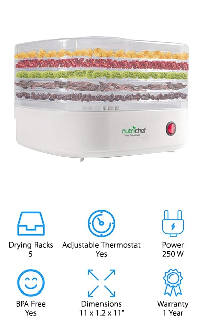 NutriChef's Food Dehydrator offers everything you need to as a newbie to dehydrating foods. This electric dehydrator preserves several different types of foods including fruits, veggies, and meats. You can easily start dehydrating with the press of one button, but you can also adjust the temperature up to 180 degrees Fahrenheit, the highest of any other dehydrator on our list. The machine comes with 5 stackable trays that can be used inside or outside of the dehydrator to dry food. NutriChef had their circulation method scientifically tested to prove that their heating method prolongs a food's shelf life compared to other dehydrators on the market. You'll find that this machine may shrink the food you dry, but it will retain 97 percent of vitamins in minerals of the food itself after it's done. With its compact size and shape, you can take this dehydrator with you anywhere including parties and camping trips. If you want an easy to use and efficient dehydrator, look no further than NutriChef!