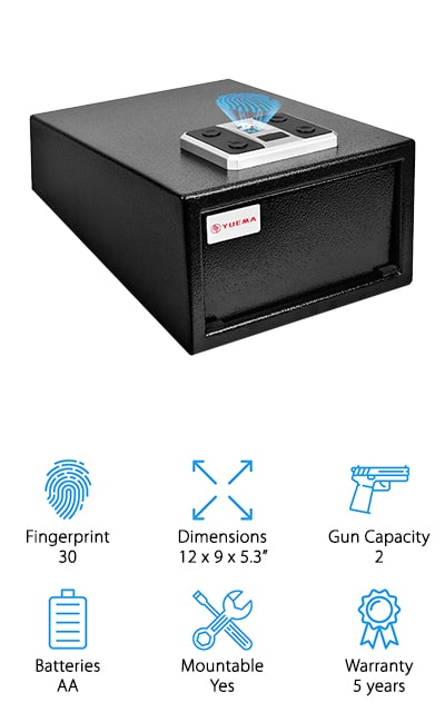 This moderately sized unit is actually able to hold up to 30 different fingerprints to make sure you can get access for anyone who needs it. It also uses a biometric sensor chip that holds over 25,000 different points on each fingerprint to make sure that it's valid. Super easy to lock and to access, it runs off standard batteries that make it easier to get up and running in no time. You can even mount it to a wall or in a closet to make sure it's even more secure. The 5-year warranty definitely lets you know that you're getting something high quality and the fact that this safe is made with cold rolled steel plating means that it's durable and ready for anything. You can even add a secondary authentication so that biometric screening and password must match in order to get access.