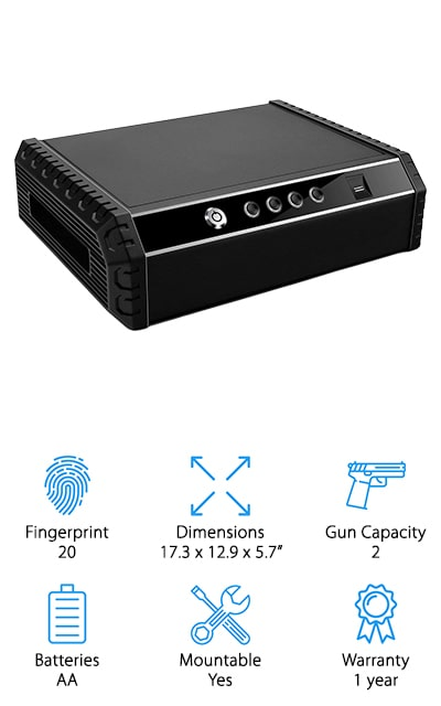 With this best small biometric gun safe, you're getting enough space for 2 guns and a simple to use system that will give you the access you need. It's able to store 20 fingerprints at the same time, so you can make sure anyone you want is able to get in but it also has plenty of safety features to make sure no one else is going to get in. The welded steel frame has a compression latch to make sure no one else can break in but you can get your gun out quickly and silently. It uses standard batteries to make sure it's easy enough for you to keep running as well. You even have the ability to mount this safe and make it even more secure or turn on the alarm that automatically locks down the safe in case of any type of movement or tampering. No matter what you do you're going to have a secure system to help you even more with security.