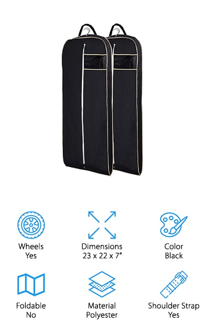 This one just might be the best garment bag for business travel. It's a 2 pack that actually provides you with plenty of space to hold a suit or dress or anything else you might want. They each have a carry handle as well as a space for hangers to make sure you can easily hang up anything that you want. You really want to make sure you have space for everything after all. If you're ready to go you can just fold it up and carry it even easier. Here you're going to have breathable material that is completely rip resistant and protects your clothes from anything, including dust and more. You'll be able to head out a whole lot faster than you might have thought and a whole lot easier, with a bag that folds easily when you're not using it.