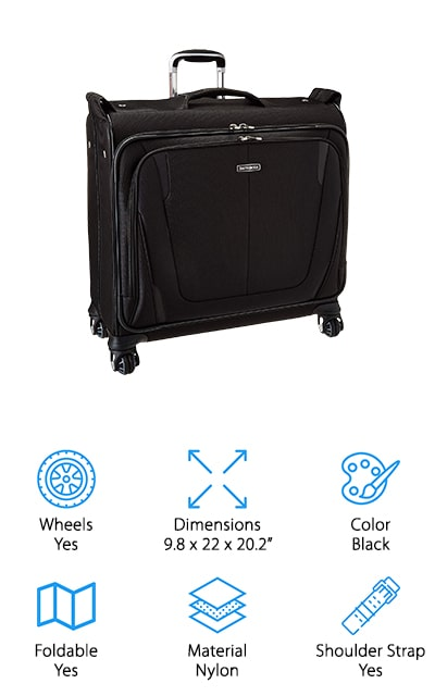 If you're going to be traveling a lot you want the best garment bag carry on to make sure your clothes stay in great shape. This one comes with multi-directional wheels that spin in all directions to make it easier to steer. It also rolls entirely upright so there's no added pressure or weight on your arms. When you're ready to open it up it stands completely upright as well to make sure you can pack anything you need on hangers and more. It also has an extender panel for long items and a shoe compartment with lining. You'll have compression straps and pockets throughout that help you keep everything organized and provide enough space for 7 days' worth of clothing. The gel-infused handle makes it comfortable and the combination lock means that your items are secure.