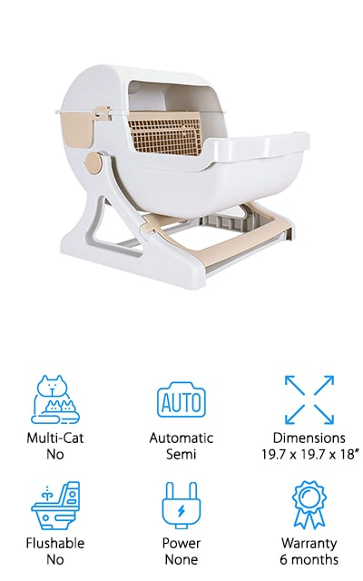 Available in three different colors for your own fun (and your cat's enjoyment), this might be the best litter box for big cats because it really does make it a little bit interesting. The unique look of the box makes it easier to put in just about any part of your house and the fact that it separates out the waste makes it easier for you to get rid of. There's no power required with this box, which makes it even easier to put anywhere you want and it can be emptied super easy. When your cat jumps in and out of the box it actually rocks the entire thing, making sure the waste is filtered out so it's easier to remove. That's all it takes to get the job done and that makes the entire process much better for you, no more touching anything.