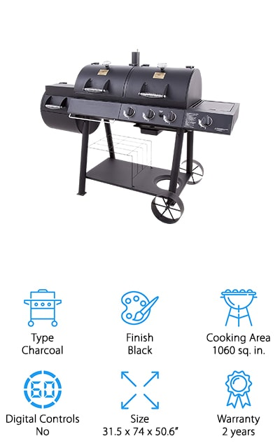 Here you're really getting the best of the best because you're going to have over 1000 square inches of cooking space to work with. This charcoal grill combo is finished in black for a sleek design and offers you plenty of space for everything you might want. It has three different sections and 6 different grates so you can keep things where you want. You also get 3 12,000 BTU burners in the grilling chamber and a 12,000 BTU side burner that you can hook up with a charcoal chimney. The porcelain coated, cast iron grates are going to provide even cooking without you having to worry about things like rust or debris. They're going to keep your food tasting great and with the 2-year warranty, you know that it's going to last.