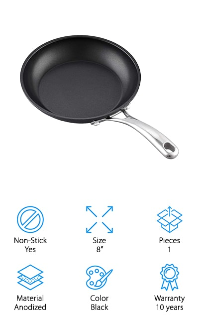 "This 8"" pan is made with a hard anodized surface to provide advanced durability as well as even heating. It has a nonstick interior that helps the food release much easier and makes for easier cleaning. The stainless steel handle is made to keep your hands away from the heat and the wide bottom of the pan means that more of the surface area gets heated and provides better quality cooking. You also get a tapered lip that helps with any pouring you may need for other ingredients or cooking purposes. Though it's not designed for induction ovens, it is great for gas, electric, glass, and ceramic cooktops. It's recommended that you hand wash this pan but you'll find that it definitely does give you a lot of great benefits for the cost."