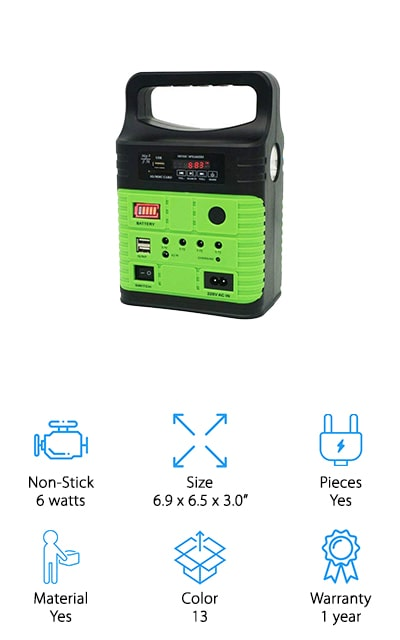 Right here is one of the best rated solar generator options available. It provides 6 watts of power so you can charge up smaller devices and it doesn't require you to have any kind of power to get it ready. Instead, it has a solar panel that makes sure it's always ready to go and that it's highly portable for anywhere you want to take it. You just put it out and it charges up to be ready the next time you need it. The connections include 2 USB 5V and 4 3.7V ports that will connect to your most common devices and keep them going while you're out of power. Durable and safe, this unit is definitely environmentally friendly and makes sure that you don't have to sacrifice at the same time. What could be better than getting everything you want all at the same time?