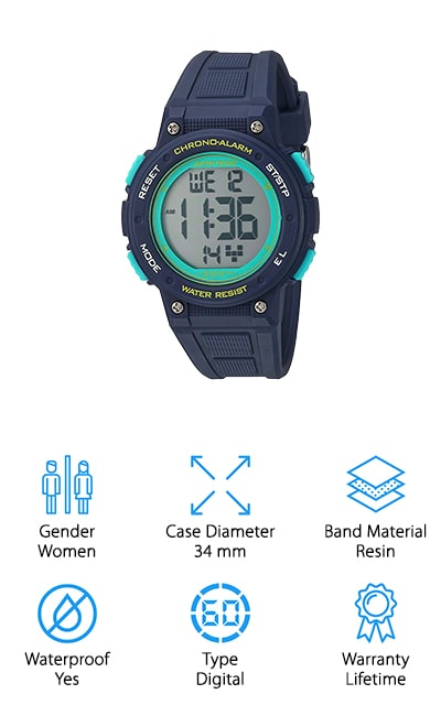 Here we have one of the top-rated outdoor watches for women, with several different color options to suit your personal preference. It has a 34 mm case diameter that's smaller than some but fits well on just about any wrist. It's also waterproof to 330 feet, which means you can take it along with you even when you're swimming or snorkeling. The quartz movements are guaranteed to be high quality and to retain the time no matter what, while the digital readout makes it more convenient for most users. Here you're going to get a full lifetime warranty that lets you know this is one company that is standing behind their products and providing you with something that you can count on. The resin band is also designed to be comfortable and flexible for different activities.