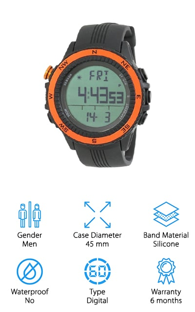 If you're really looking for versatility this watch may be exactly what you need. It's a digital watch that comes in several different colors to fit your personal preference and style. It also has a German sensor, weather forecast, altimeter and a whole lot more. You'll have everything you could need to keep yourself going when the weather turns rough or even if you're just outside camping or having fun with other activities. There's a 6-month warranty that says everything is going to work just fine and the comfortable band is made to be flexible. With this watch, you're getting a 45 mm case diameter that's designed for moderate to larger wrists or those who prefer a larger watch. It's something you'll definitely want to take along with you when you head into the great outdoors next time.