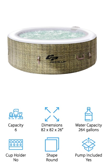 Looking for the best inflatable hot tub for winter? This might be just what you're looking for. This round hot tub includes the pump and everything you need to get started, including the filter cartridge and hoses. All you need to do is fill it up with 264 gallons of water and you'll be ready to go. Heat it up to as much as 104 degrees Fahrenheit and enjoy the built-in hard water treatment system as well. Able to hold up to 6 people comfortably this is a great way to relax after a long day. You can use this tub indoors or outdoors and you can feel comfortable with the durable materials that it's made of. Available in several different colors to fit your personal preference, this is definitely a tub that will keep you more than happy with a 360 bubble design for comprehensive massage.