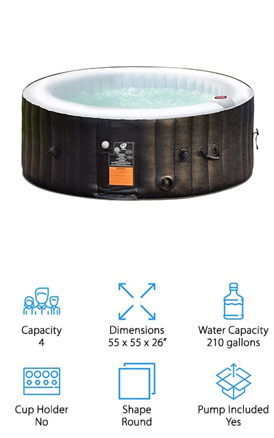 This hot tub is round in design and gives you plenty of bubble jets to get you feeling relaxed and ready for anything. It has everything you need included, even the pump, so all you need to do is fill it up with water and you'll be all set. The digital control lets you set the temperature and make sure everything is running just right and the fact that you can fit 4 people in here definitely makes it fun and more comfortable. You'll have a fabric coated material around the exterior that keeps it safe and durable and you get a built-in hard water treatment system. When you relax into this tub you're definitely going to see why it's so popular and why it's a great option for your yard. It has a simple to replace filter and it's actually easy to inflate or even deflate and store or take somewhere else.